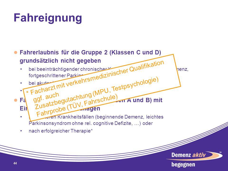 Fahreignung Fahrerlaubnis für die Gruppe 2 (Klassen C und D) grundsätzlich nicht gegeben bei beeinträchtigender chronischer Krankheit (fortgeschritten
