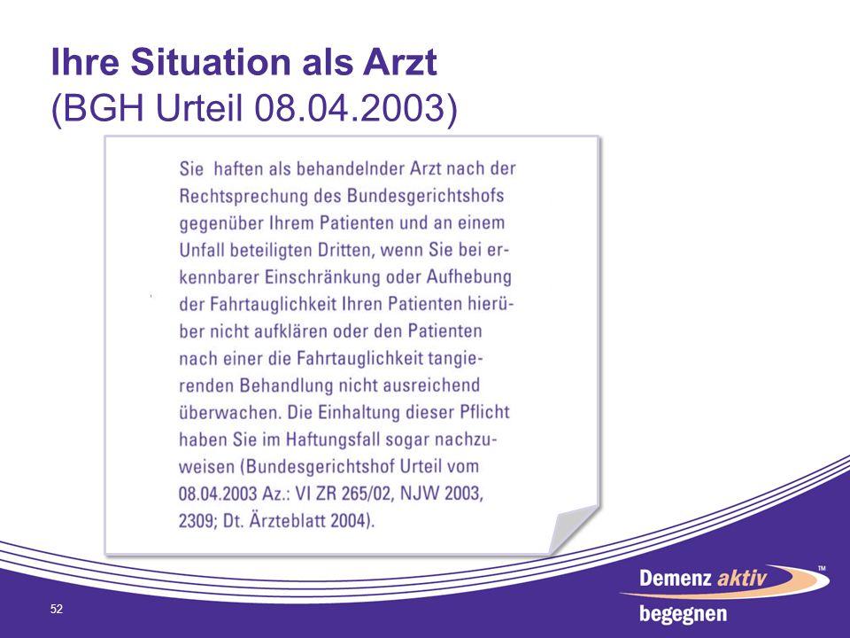 Ihre Situation als Arzt (BGH Urteil 08.04.2003) 52
