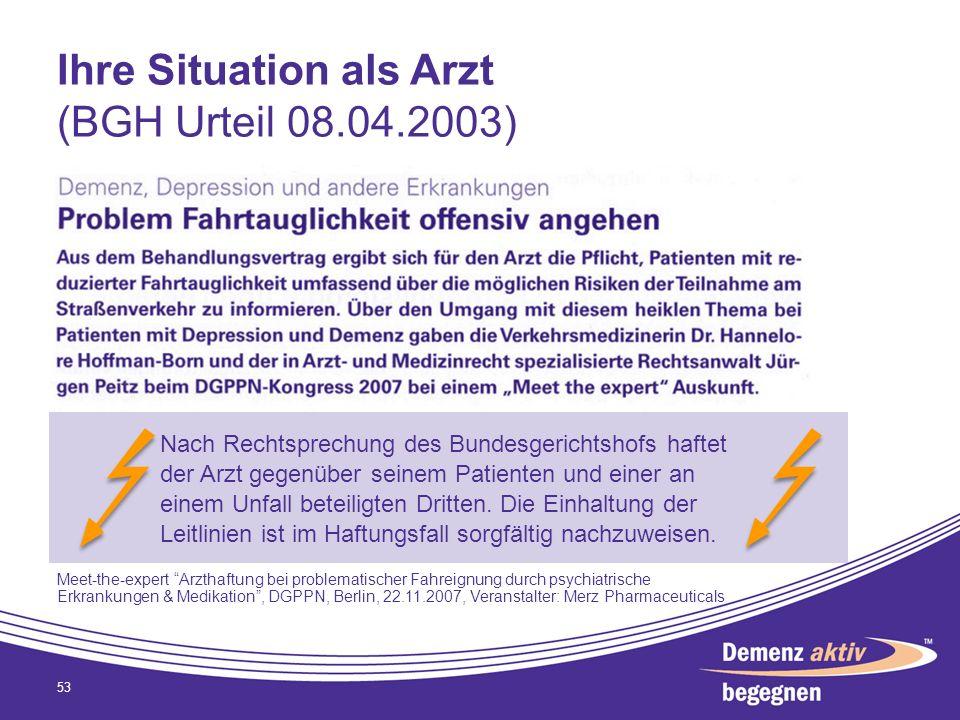 Ihre Situation als Arzt (BGH Urteil 08.04.2003) 53 Nach Rechtsprechung des Bundesgerichtshofs haftet der Arzt gegenüber seinem Patienten und einer an