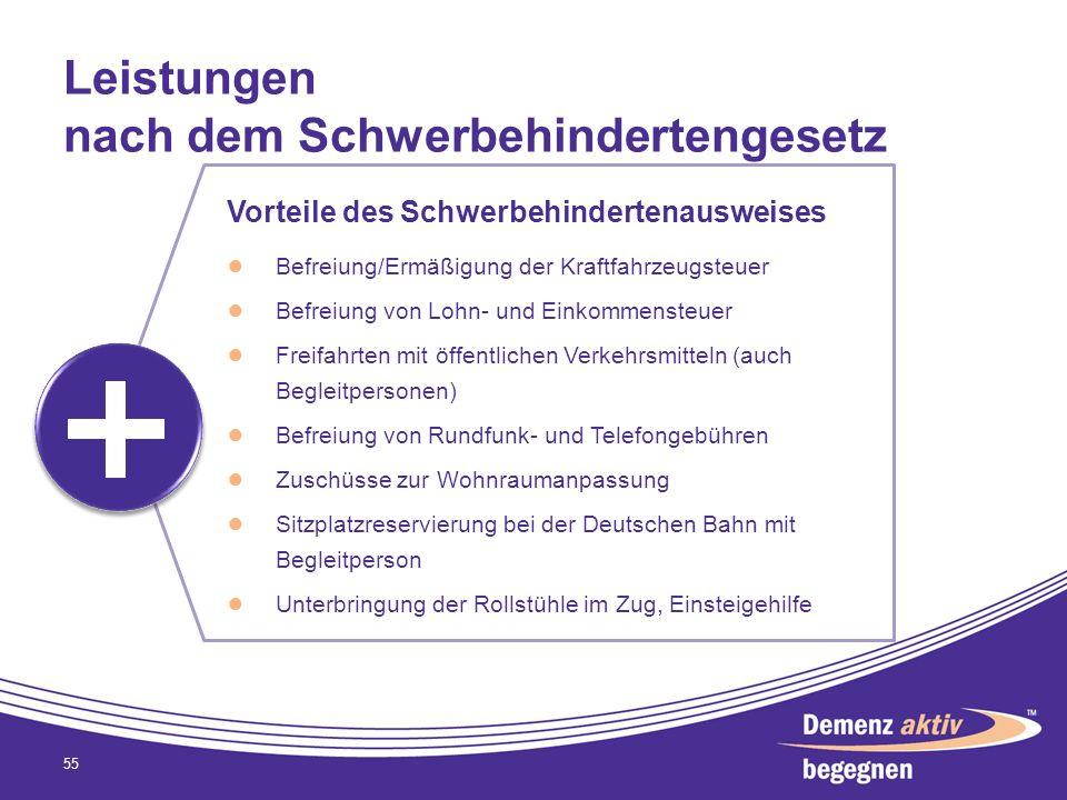 Leistungen nach dem Schwerbehindertengesetz 55 Vorteile des Schwerbehindertenausweises Befreiung/Ermäßigung der Kraftfahrzeugsteuer Befreiung von Lohn