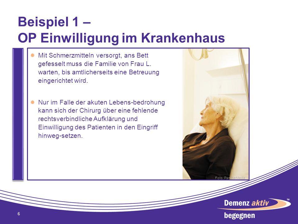 Beispiel 1 – OP Einwilligung im Krankenhaus 6 Mit Schmerzmitteln versorgt, ans Bett gefesselt muss die Familie von Frau L. warten, bis amtlicherseits