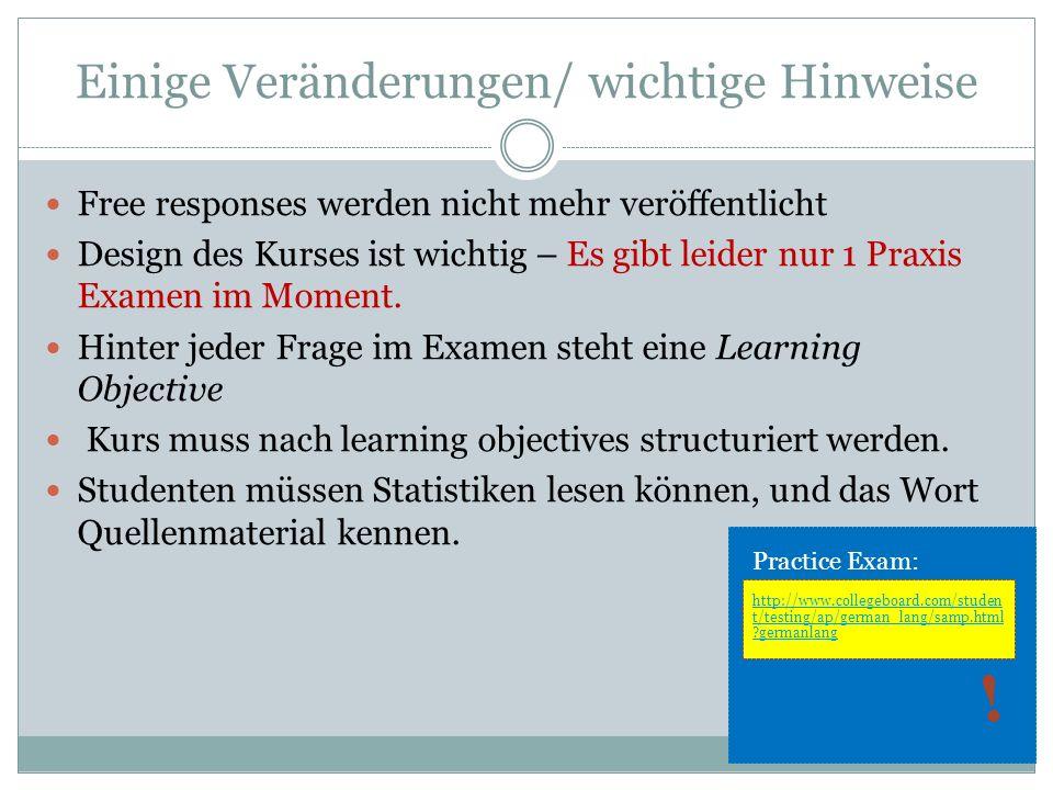 Einige Veränderungen/ wichtige Hinweise Free responses werden nicht mehr veröffentlicht Design des Kurses ist wichtig – Es gibt leider nur 1 Praxis Ex