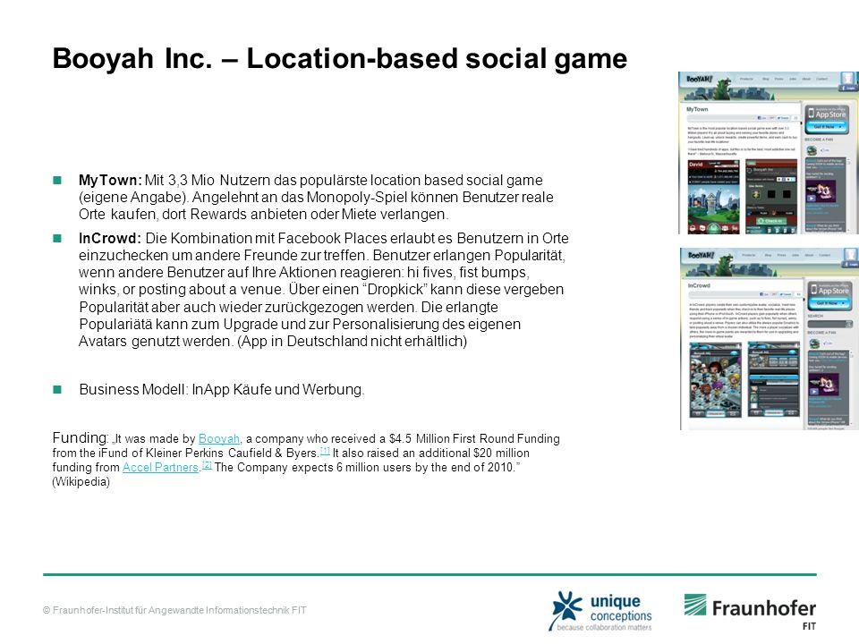 © Fraunhofer-Institut für Angewandte Informationstechnik FIT Booyah Inc.