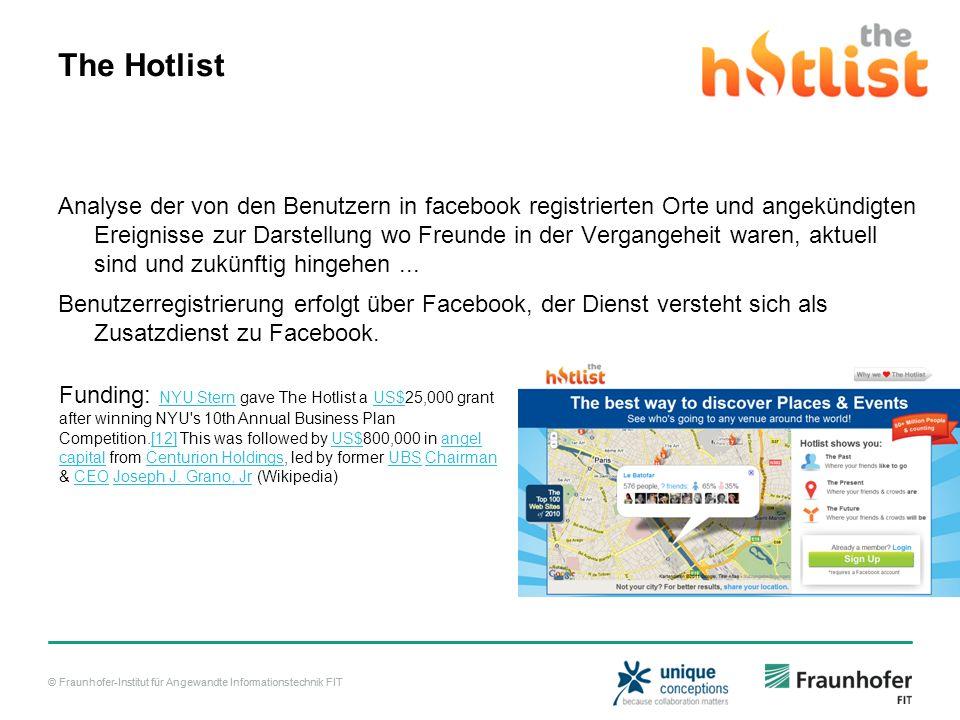 © Fraunhofer-Institut für Angewandte Informationstechnik FIT The Hotlist Analyse der von den Benutzern in facebook registrierten Orte und angekündigten Ereignisse zur Darstellung wo Freunde in der Vergangeheit waren, aktuell sind und zukünftig hingehen...