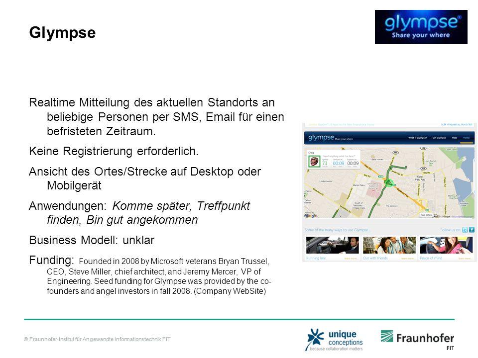 © Fraunhofer-Institut für Angewandte Informationstechnik FIT Glympse Realtime Mitteilung des aktuellen Standorts an beliebige Personen per SMS, Email für einen befristeten Zeitraum.