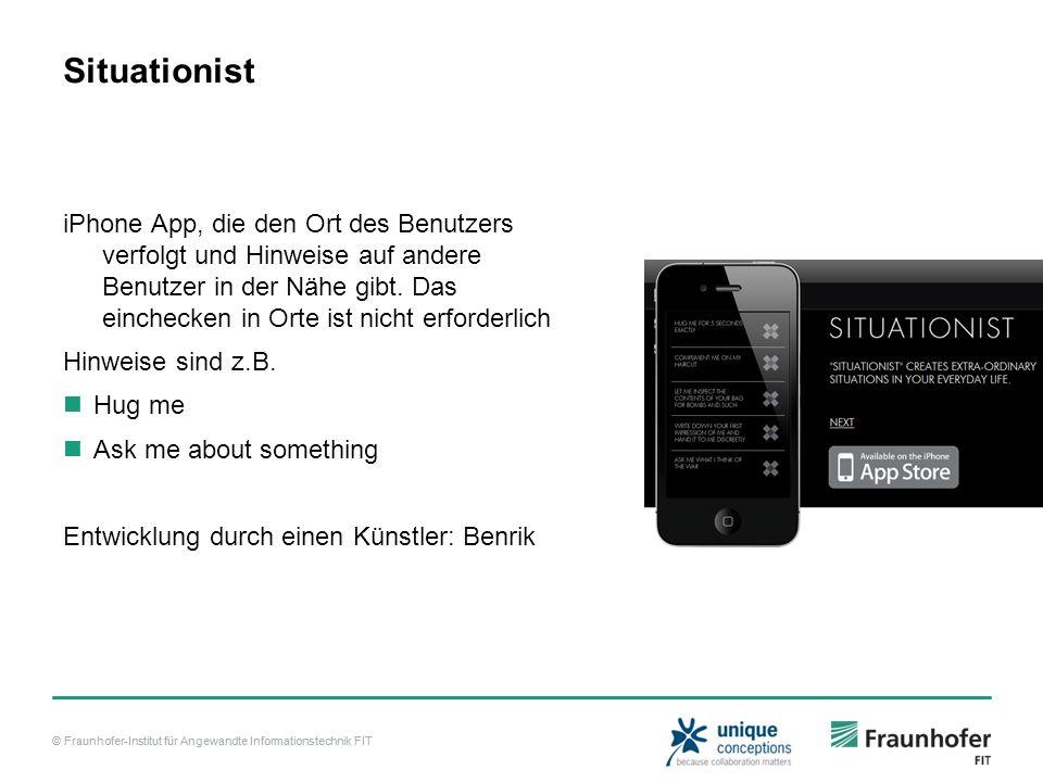 © Fraunhofer-Institut für Angewandte Informationstechnik FIT Situationist iPhone App, die den Ort des Benutzers verfolgt und Hinweise auf andere Benutzer in der Nähe gibt.