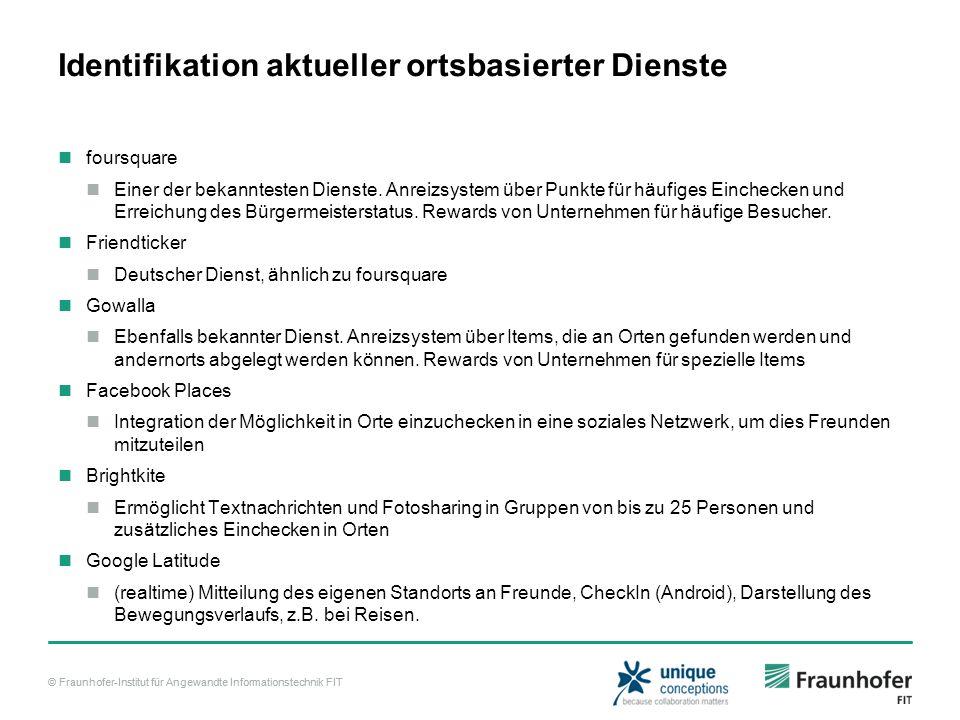 © Fraunhofer-Institut für Angewandte Informationstechnik FIT Identifikation aktueller ortsbasierter Dienste foursquare Einer der bekanntesten Dienste.