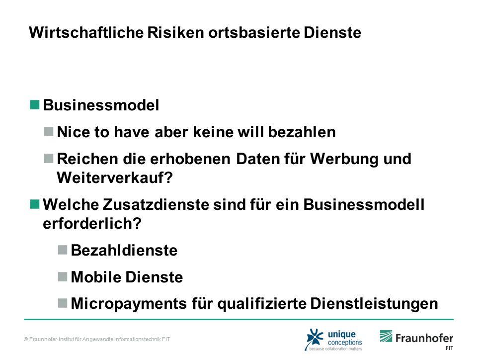 © Fraunhofer-Institut für Angewandte Informationstechnik FIT Wirtschaftliche Risiken ortsbasierte Dienste Businessmodel Nice to have aber keine will bezahlen Reichen die erhobenen Daten für Werbung und Weiterverkauf.