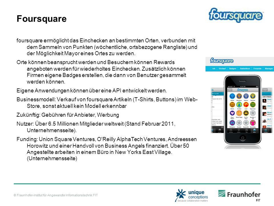 © Fraunhofer-Institut für Angewandte Informationstechnik FIT Foursquare foursquare ermöglicht das Einchecken an bestimmten Orten, verbunden mit dem Sammeln von Punkten (wöchentliche, ortsbezogene Rangliste) und der Möglichkeit Mayor eines Ortes zu werden.