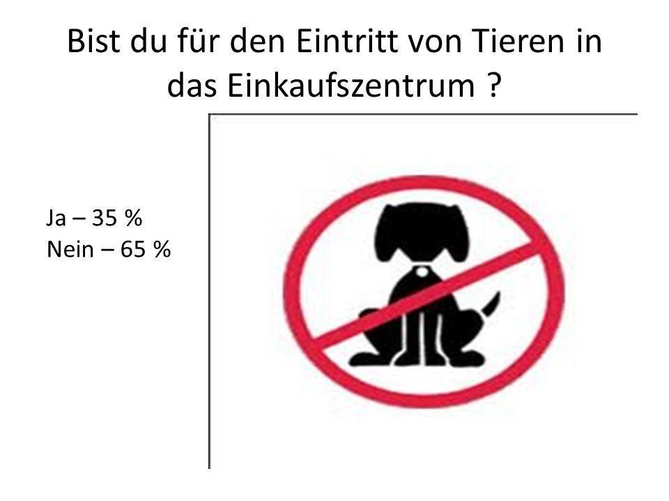 Bist du für den Eintritt von Tieren in das Einkaufszentrum ? Ja – 35 % Nein – 65 %