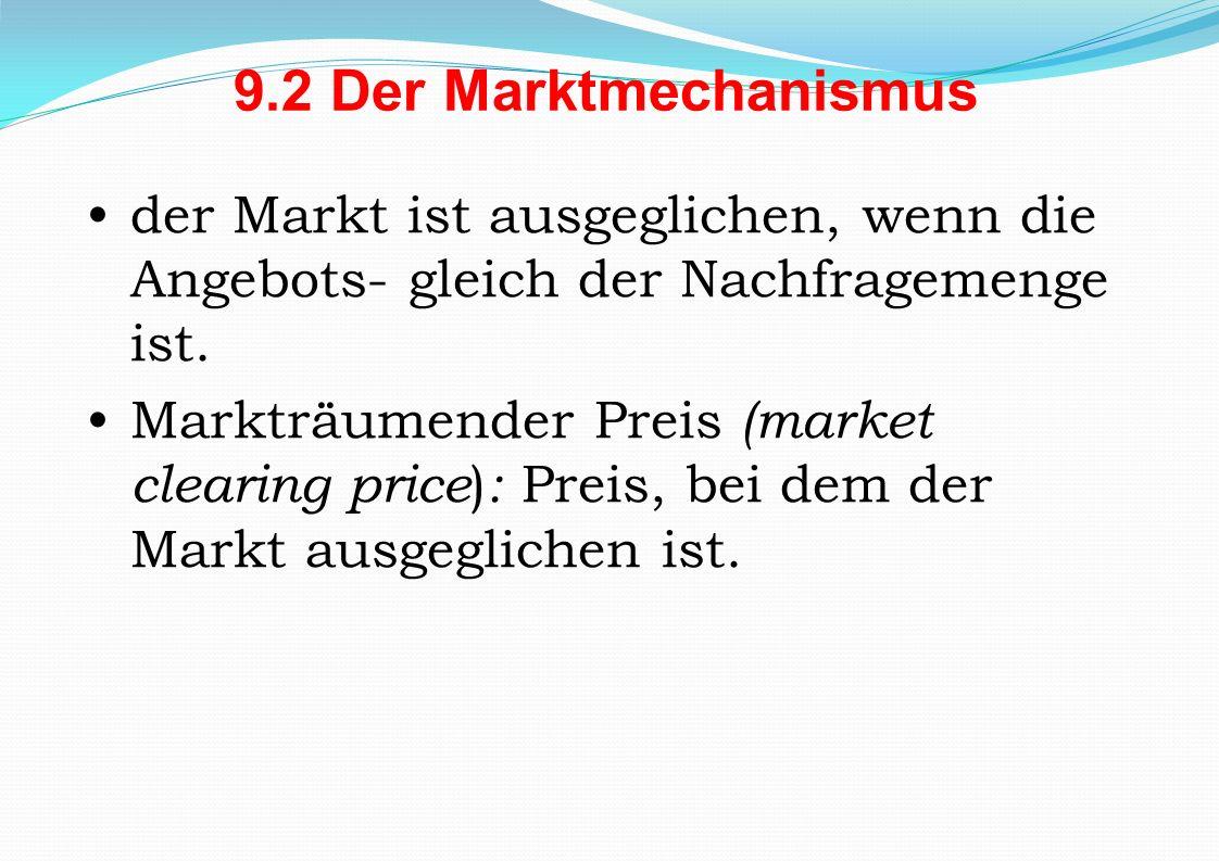 9.2 Der Marktmechanismus der Markt ist ausgeglichen, wenn die Angebots- gleich der Nachfragemenge ist. Markträumender Preis (market clearing price ) :