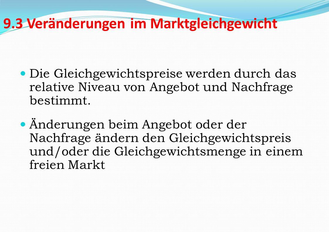 9.3 Veränderungen im Marktgleichgewicht Die Gleichgewichtspreise werden durch das relative Niveau von Angebot und Nachfrage bestimmt. Änderungen beim