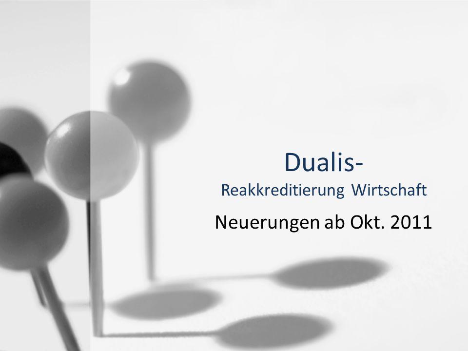 Reakkreditierung Wirtschaft Neue Module / Units Neue Modulcodes Neue Prüfungsordnung in Dualis (=> … 2011f) Einfacherer Modulaufbau Keine Versionsauswahl mehr Module mit Wahlunits (das ist neu bei Wirtschaft) Module mit mehr als 2 Semestern