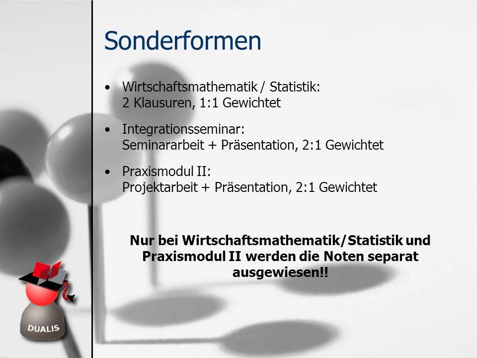 Sonderformen Wirtschaftsmathematik / Statistik: 2 Klausuren, 1:1 Gewichtet Integrationsseminar: Seminararbeit + Präsentation, 2:1 Gewichtet Praxismodu