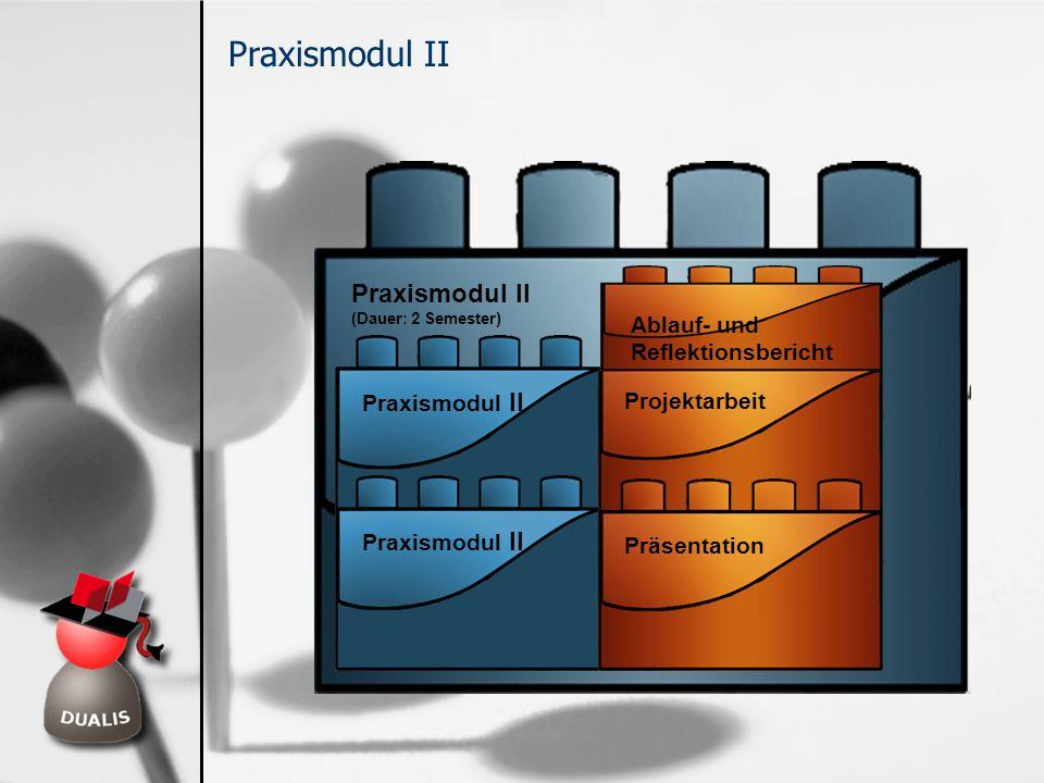 Praxismodul II (Dauer: 2 Semester) Praxismodul II Ablauf- und Reflektionsbericht Projektarbeit Präsentation
