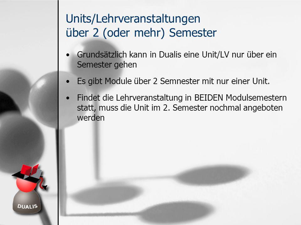 Units/Lehrveranstaltungen über 2 (oder mehr) Semester Grundsätzlich kann in Dualis eine Unit/LV nur über ein Semester gehen Es gibt Module über 2 Semn