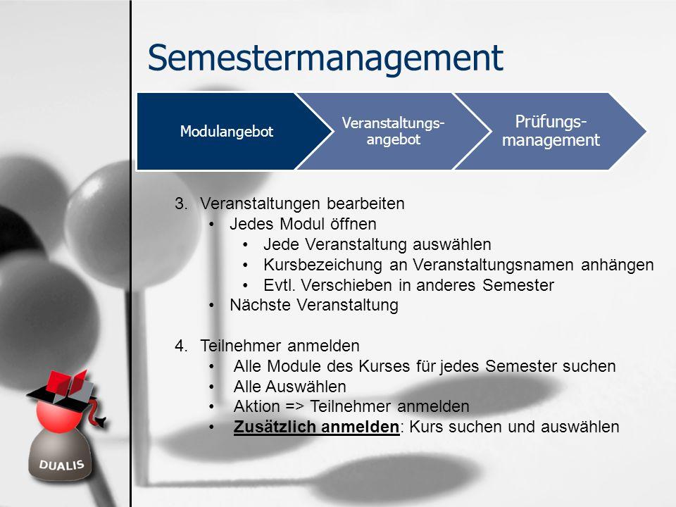 Semestermanagement Modulangebot Veranstaltungs- angebot Prüfungs- management 3.Veranstaltungen bearbeiten Jedes Modul öffnen Jede Veranstaltung auswäh