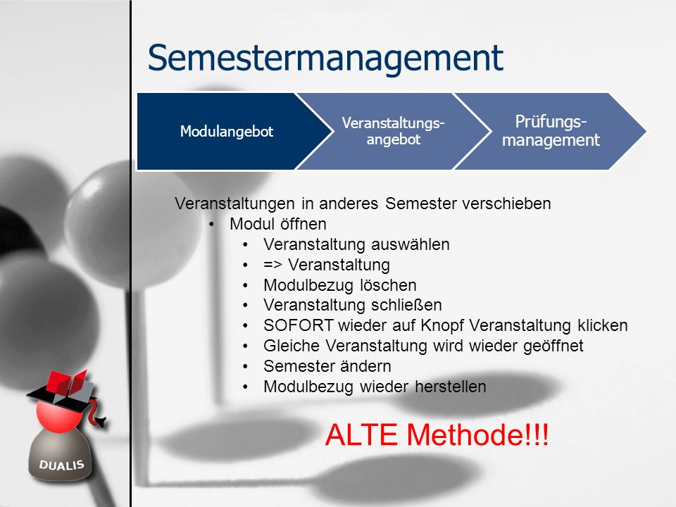 Semestermanagement Modulangebot Veranstaltungs- angebot Prüfungs- management Veranstaltungen in anderes Semester verschieben Modul öffnen Veranstaltun