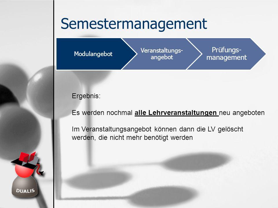 Semestermanagement Modulangebot Veranstaltungs- angebot Prüfungs- management Ergebnis: Es werden nochmal alle Lehrveranstaltungen neu angeboten Im Ver