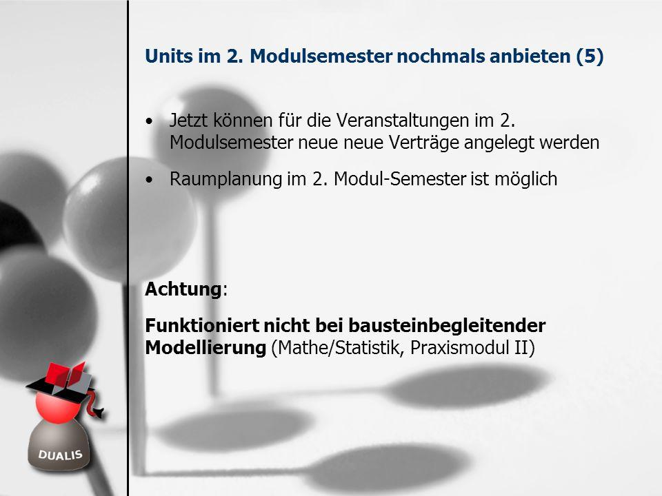 Units im 2. Modulsemester nochmals anbieten (5) Jetzt können für die Veranstaltungen im 2. Modulsemester neue neue Verträge angelegt werden Raumplanun