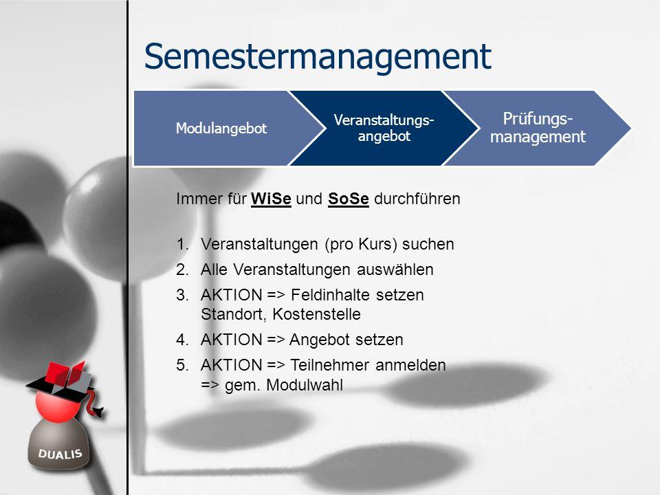 Semestermanagement Modulangebot Veranstaltungs- angebot Prüfungs- management Immer für WiSe und SoSe durchführen 1.Veranstaltungen (pro Kurs) suchen 2