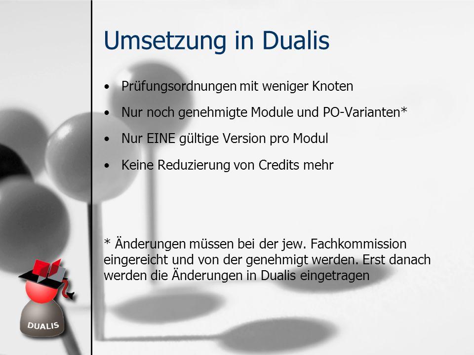 Umsetzung in Dualis Prüfungsordnungen mit weniger Knoten Nur noch genehmigte Module und PO-Varianten* Nur EINE gültige Version pro Modul Keine Reduzie