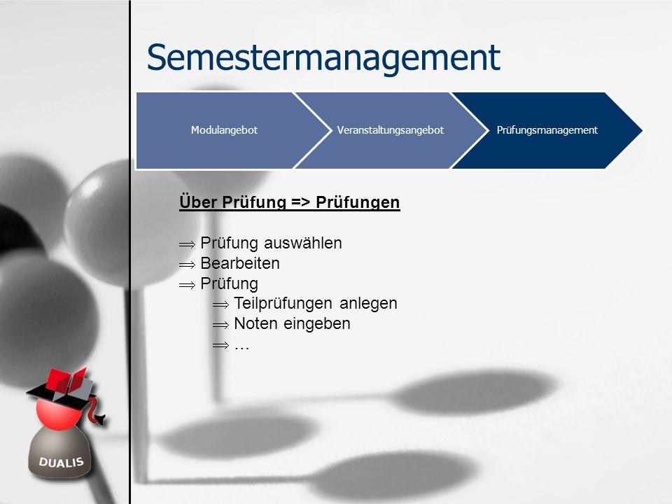 Semestermanagement ModulangebotVeranstaltungsangebotPrüfungsmanagement Über Prüfung => Prüfungen Prüfung auswählen Bearbeiten Prüfung Teilprüfungen an