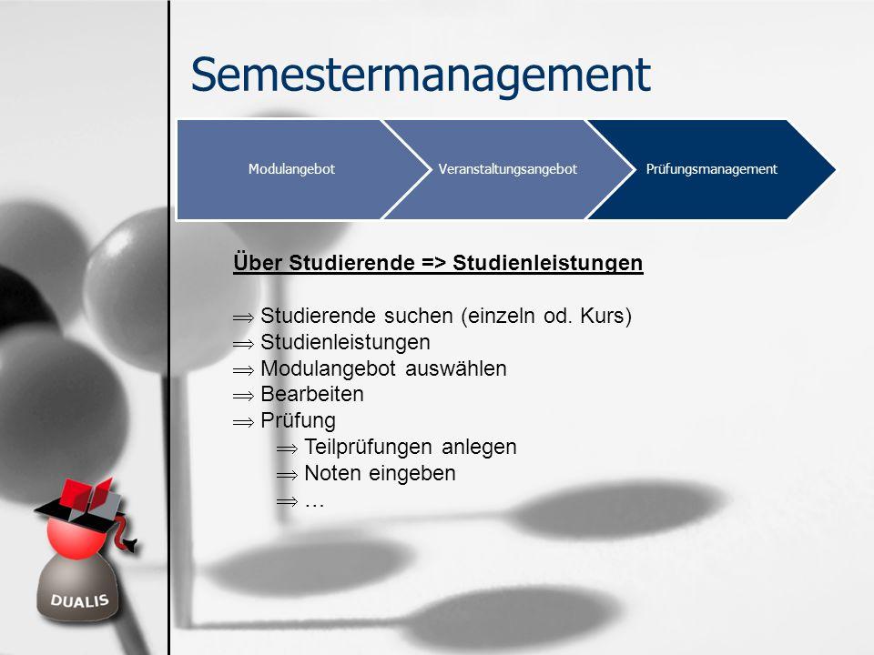 Semestermanagement ModulangebotVeranstaltungsangebotPrüfungsmanagement Über Studierende => Studienleistungen Studierende suchen (einzeln od. Kurs) Stu