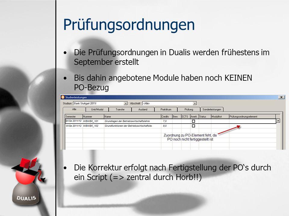 Prüfungsordnungen Die Prüfungsordnungen in Dualis werden frühestens im September erstellt Bis dahin angebotene Module haben noch KEINEN PO-Bezug Die K
