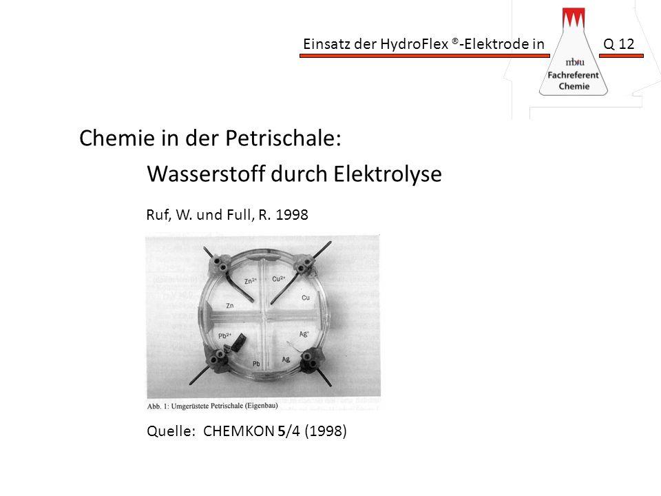 Einsatz der HydroFlex ®-Elektrode in Q 12 Chemie in der Petrischale: Wasserstoff durch Elektrolyse Quelle: CHEMKON 5/4 (1998) Ruf, W. und Full, R. 199