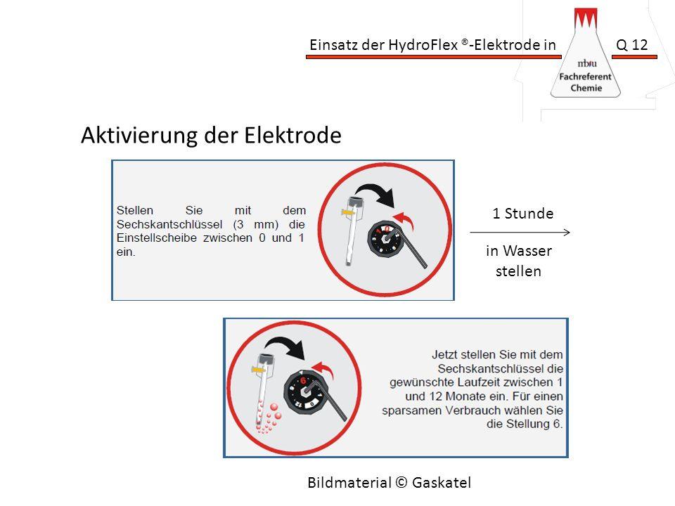Einsatz der HydroFlex ®-Elektrode in Q 12 Aktivierung der Elektrode Bildmaterial © Gaskatel 1 Stunde in Wasser stellen