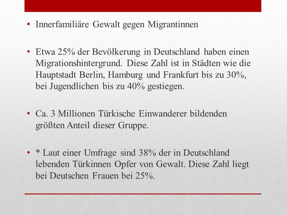 Innerfamiliäre Gewalt gegen Migrantinnen Etwa 25% der Bevölkerung in Deutschland haben einen Migrationshintergrund. Diese Zahl ist in Städten wie die