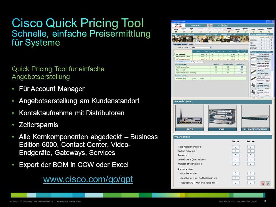 © 2012 Cisco und/oder Partnerunternehmen. Alle Rechte vorbehalten. Vertrauliche Informationen von Cisco 19 Quick Pricing Tool für einfache Angebotsers