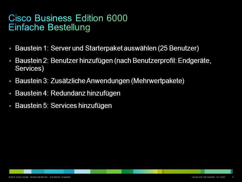 © 2012 Cisco und/oder Partnerunternehmen. Alle Rechte vorbehalten. Vertrauliche Informationen von Cisco 2 Baustein 1: Server und Starterpaket auswähle