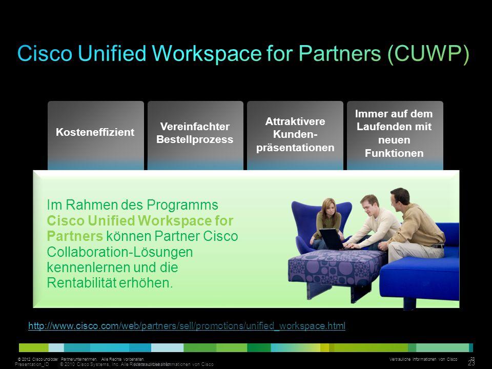 © 2012 Cisco und/oder Partnerunternehmen. Alle Rechte vorbehalten. Vertrauliche Informationen von Cisco 23 http://www.cisco.com/web/partners/sell/prom