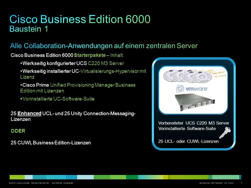 © 2012 Cisco und/oder Partnerunternehmen. Alle Rechte vorbehalten. Vertrauliche Informationen von Cisco 3 Cisco Business Edition 6000 Starterpakete –