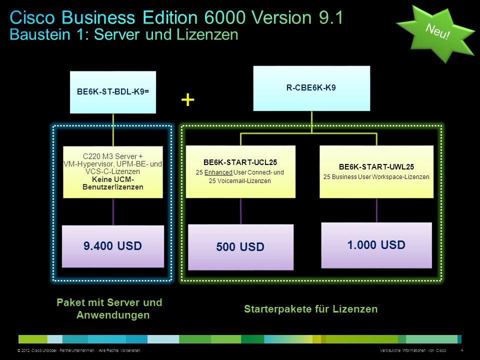 © 2012 Cisco und/oder Partnerunternehmen. Alle Rechte vorbehalten. Vertrauliche Informationen von Cisco 4 BE6K-ST-BDL-K9= C220 M3 Server + VM-Hypervis