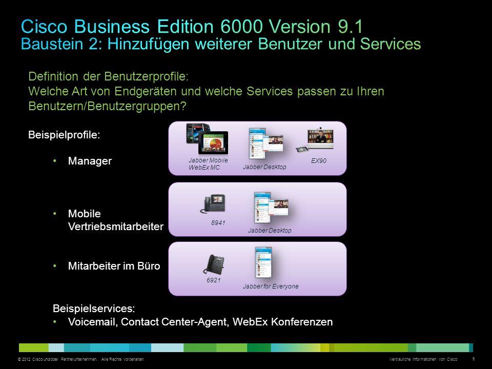 © 2012 Cisco und/oder Partnerunternehmen. Alle Rechte vorbehalten. Vertrauliche Informationen von Cisco 5 Definition der Benutzerprofile: Welche Art v