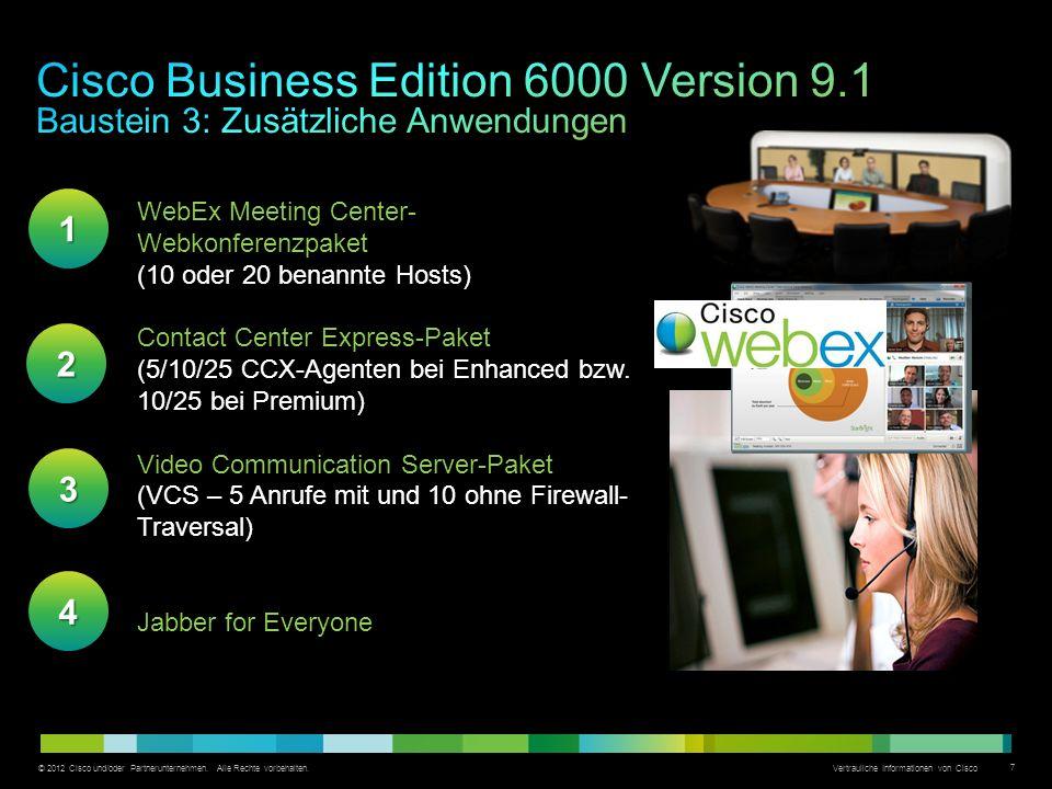 © 2012 Cisco und/oder Partnerunternehmen. Alle Rechte vorbehalten. Vertrauliche Informationen von Cisco 7 WebEx Meeting Center- Webkonferenzpaket (10