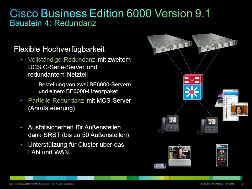 © 2012 Cisco und/oder Partnerunternehmen. Alle Rechte vorbehalten. Vertrauliche Informationen von Cisco 8 Flexible Hochverfügbarkeit Vollständige Redu