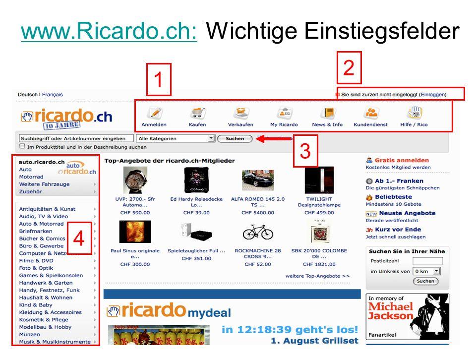 www.Ricardo.ch:www.Ricardo.ch: Wichtige Einstiegsfelder 1 3 2 4