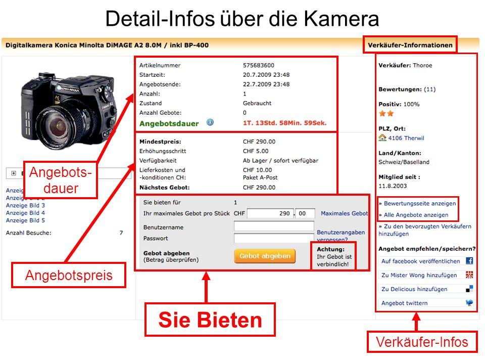 Detail-Infos über die Kamera Verkäufer-Infos Sie Bieten Angebotspreis Angebots- dauer