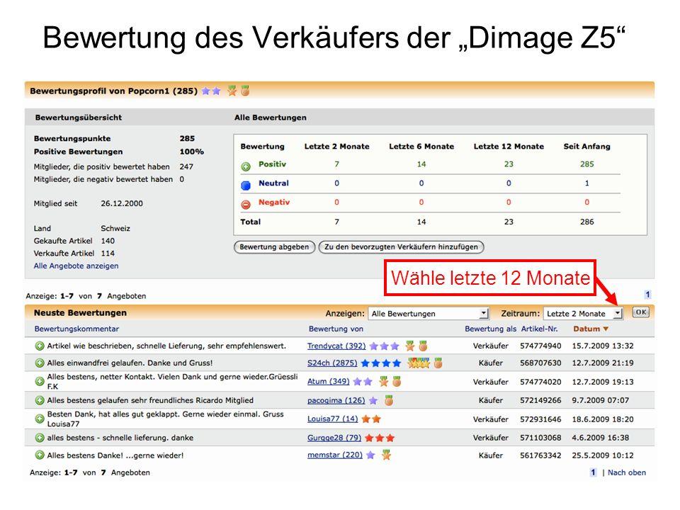 Bewertung des Verkäufers der Dimage Z5 Wähle letzte 12 Monate