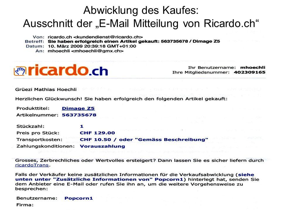 Abwicklung des Kaufes: Ausschnitt der E-Mail Mitteilung von Ricardo.ch