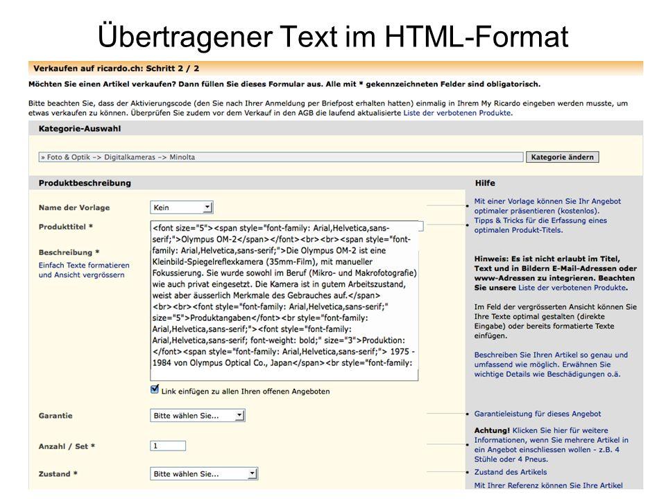 Übertragener Text im HTML-Format