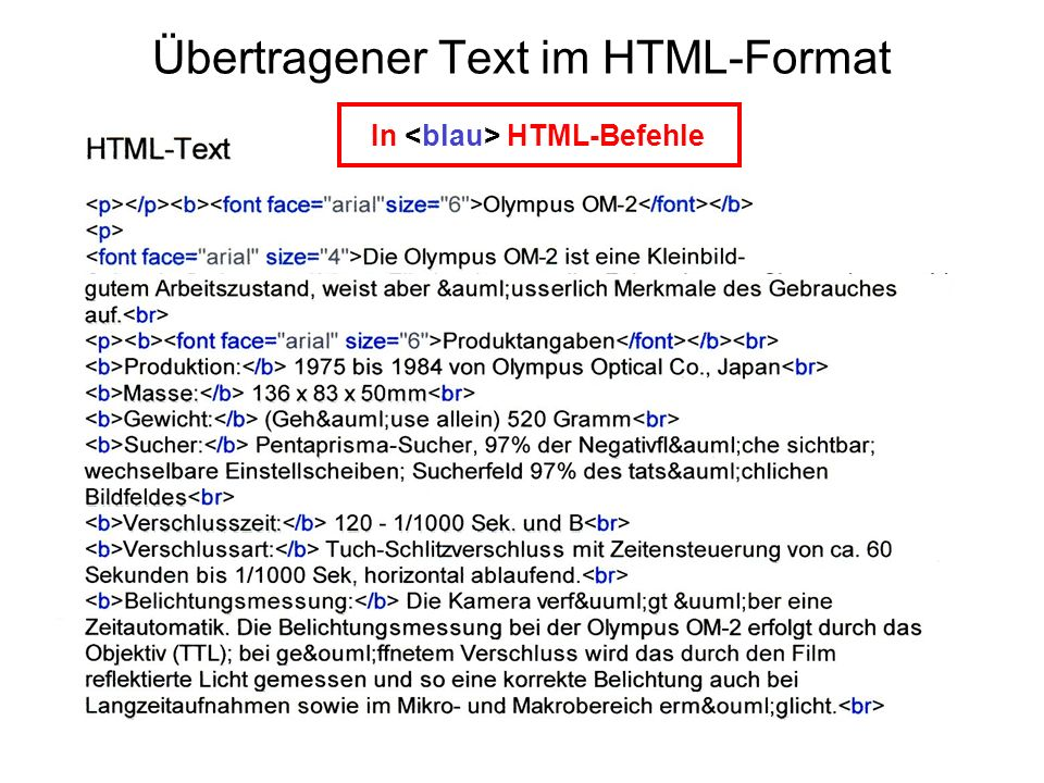 In HTML-Befehle