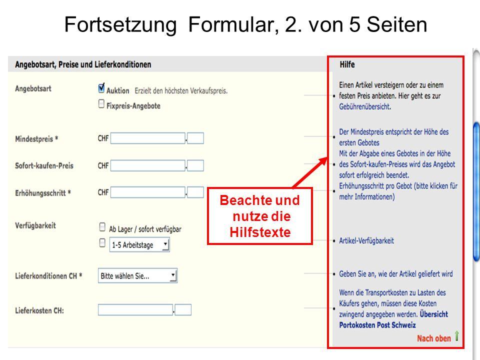 Fortsetzung Formular, 2. von 5 Seiten Beachte und nutze die Hilfstexte