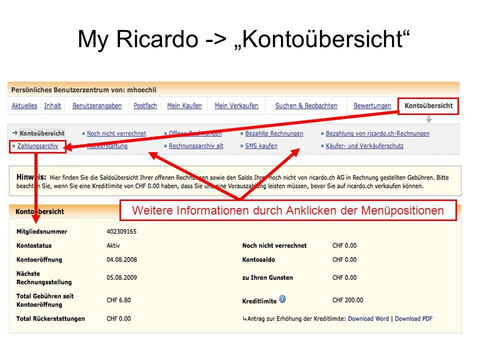 My Ricardo -> Kontoübersicht Weitere Informationen durch Anklicken der Menüpositionen