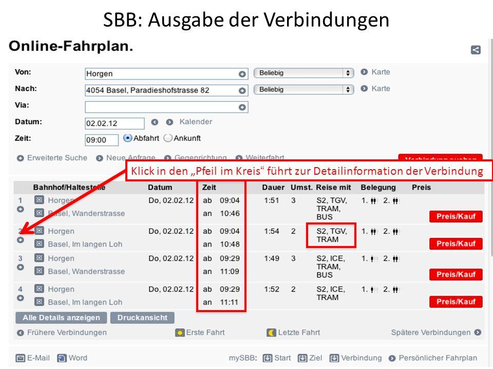 SBB: Ausgabe der Verbindungen Klick in den Pfeil im Kreis führt zur Detailinformation der Verbindung