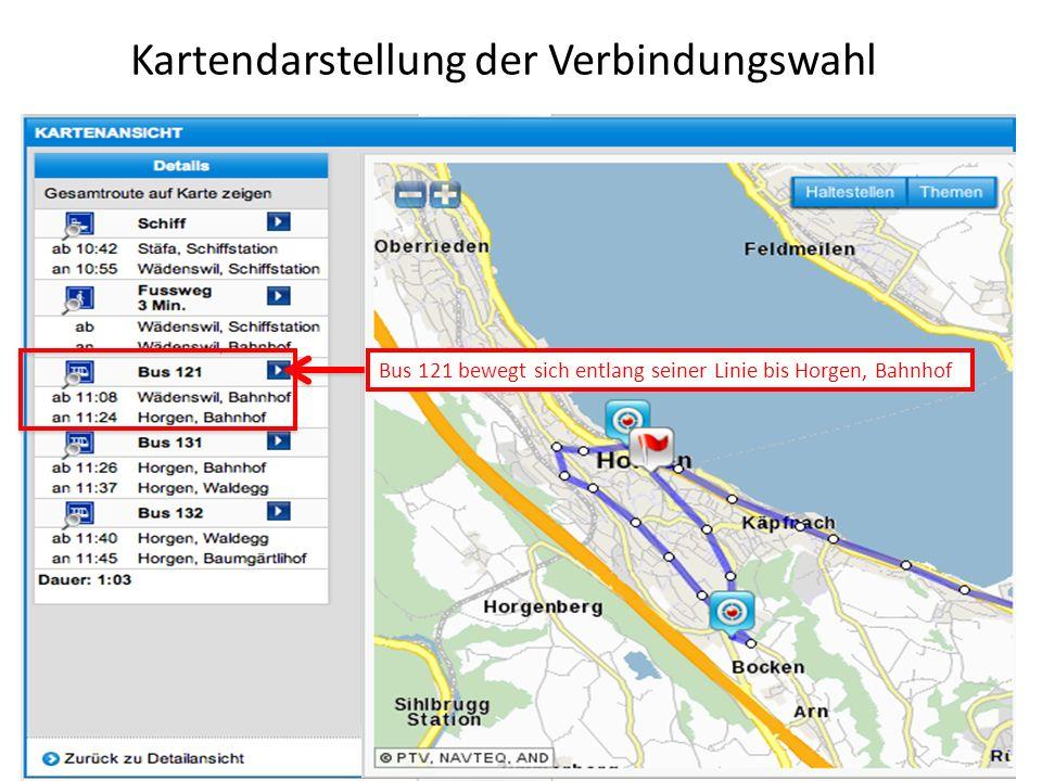 Kartendarstellung der Verbindungswahl Bus 121 bewegt sich entlang seiner Linie bis Horgen, Bahnhof